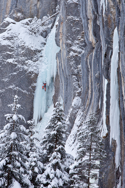 "A climber penetrates the ""Eisener Vorhang"" (Iron Curtain), Urnerboden, Switzerland."