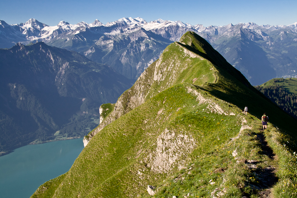 Hikers traverse an exposed ridge on the challenging Brienzer Rothorn to Harder Kulm traverse with views of the Berner Oberland Alps, Switzerland